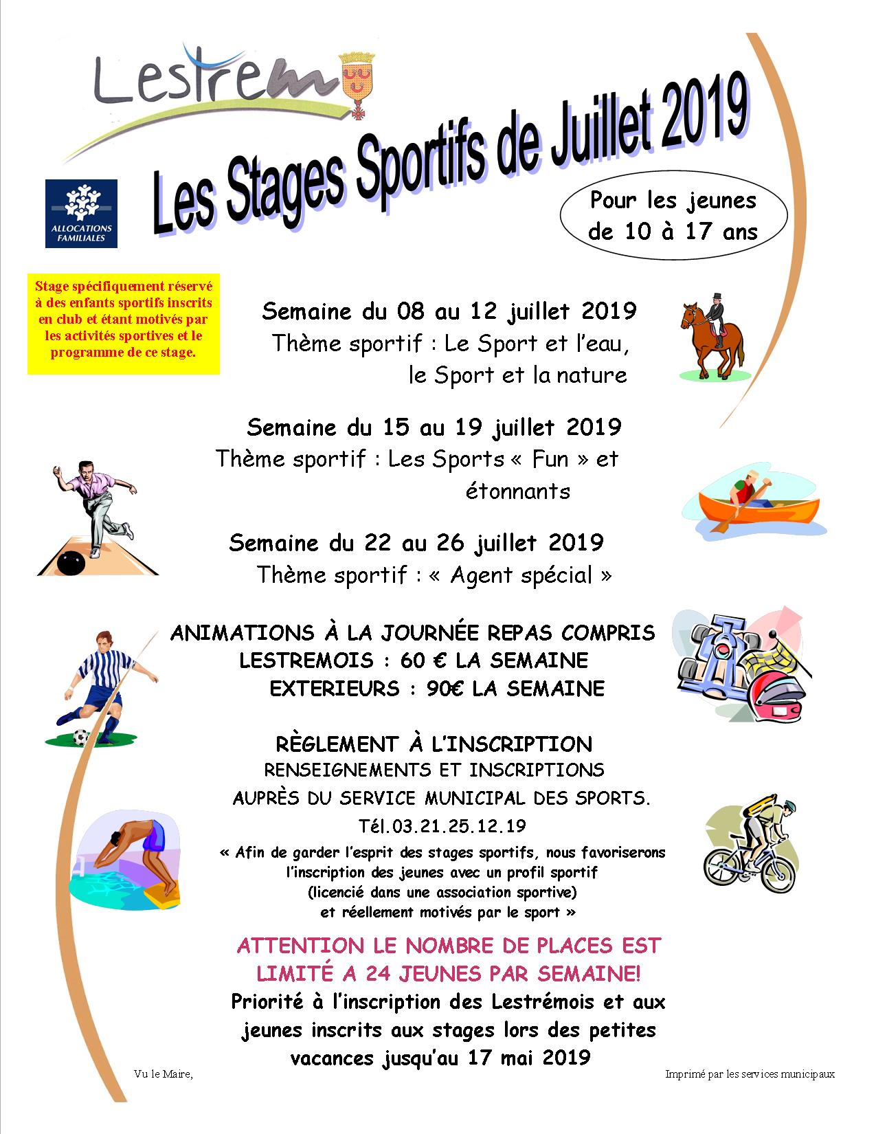 Affiche stages sportifs 2019